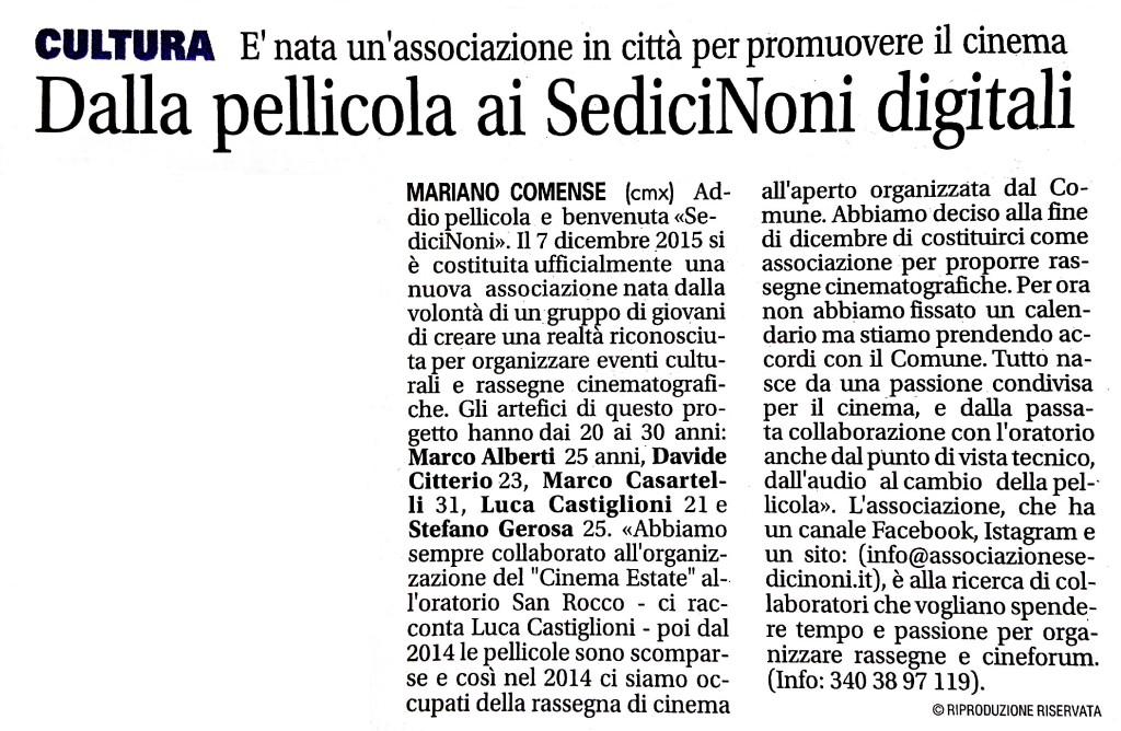 Giornale di Cantù 23-01-2016